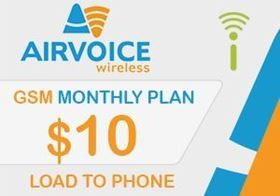 Picture of Airvoice GSM Monthly Plan $10.00 - Load To Phone