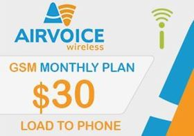 Picture of Airvoice GSM Monthly Plan $30.00 - Load To Phone