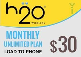 Picture of H2O Monthly Unlimited Plan $30.00 - Load To Phone