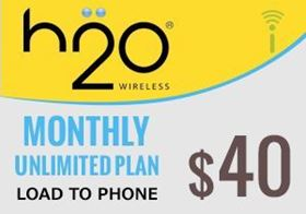 Picture of H2O Monthly Unlimited Plan $40.00 - Load To Phone