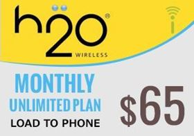 Picture of H2O Monthly Unlimited Plan $65.00 - Load To Phone