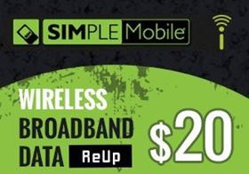 Picture of SIMPLE Mobile Wireless Broadband Data - $20.00 - ReUp